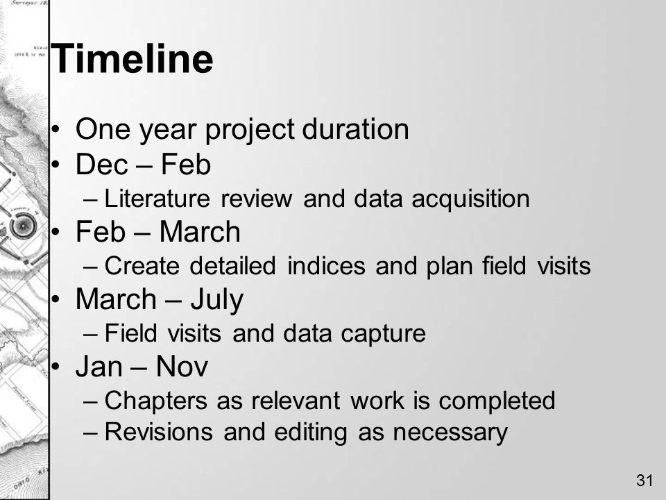 Timeline One year project duration Dec – Feb Feb – March March – July