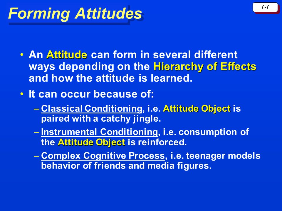 Forming Attitudes An Attitude can form in several different ways depending on the Hierarchy of Effects and how the attitude is learned.