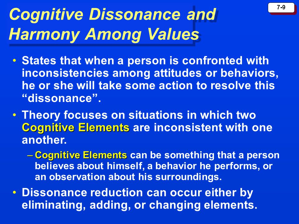 Cognitive Dissonance and Harmony Among Values