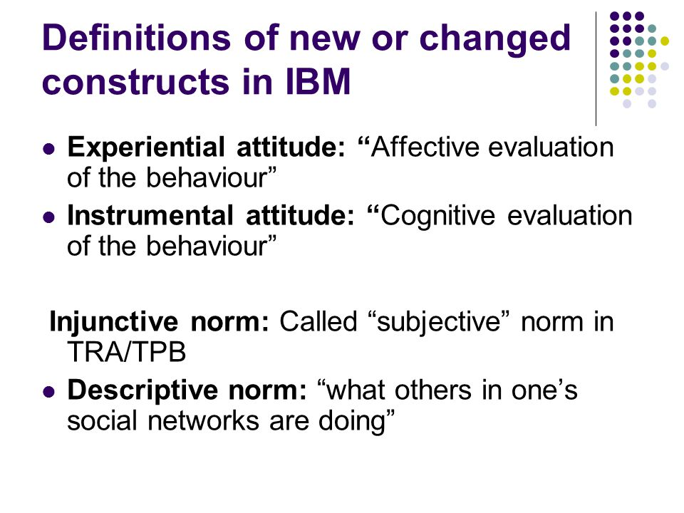 Definitions of new or changed constructs in IBM