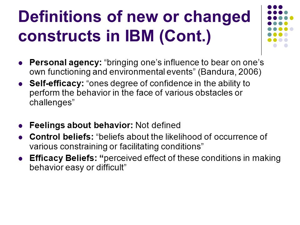 Definitions of new or changed constructs in IBM (Cont.)