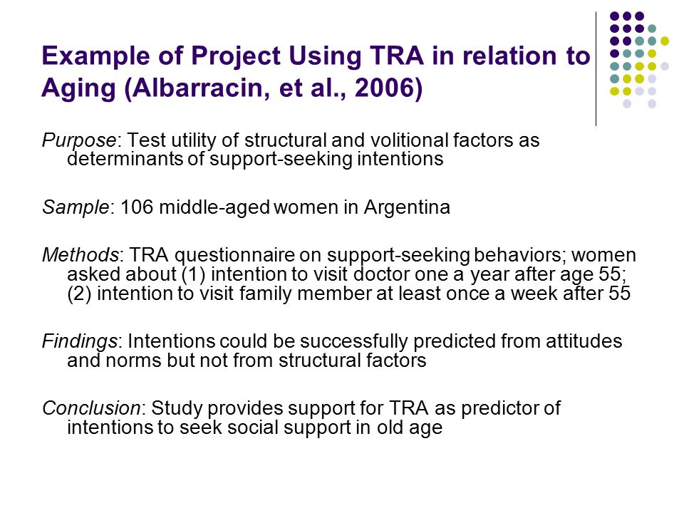 Example of Project Using TRA in relation to Aging (Albarracin, et al