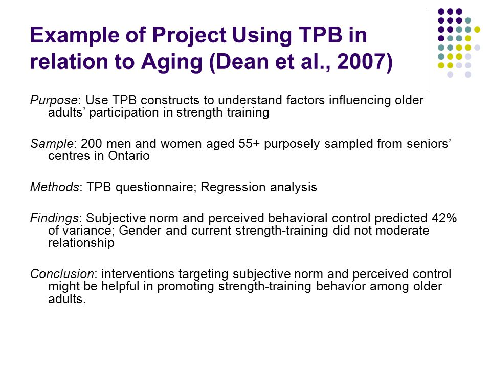 Example of Project Using TPB in relation to Aging (Dean et al., 2007)