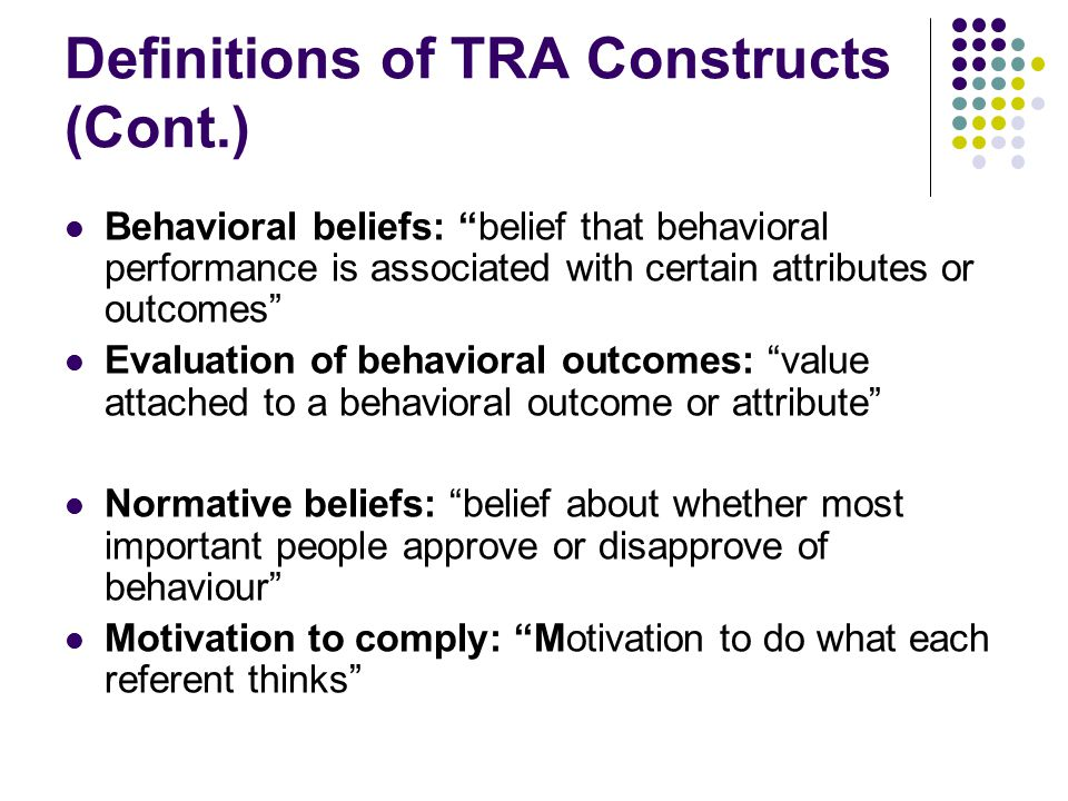 Definitions of TRA Constructs (Cont.)
