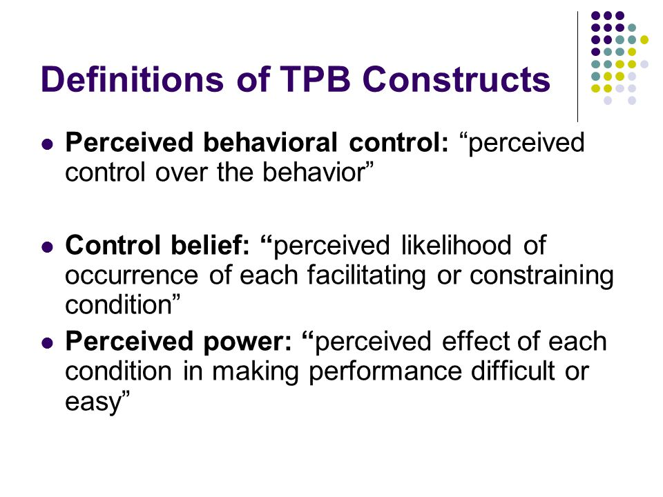 Definitions of TPB Constructs
