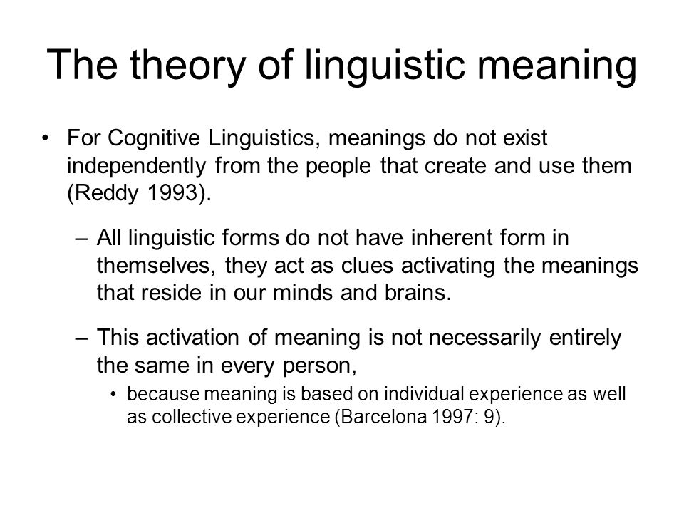 The theory of linguistic meaning