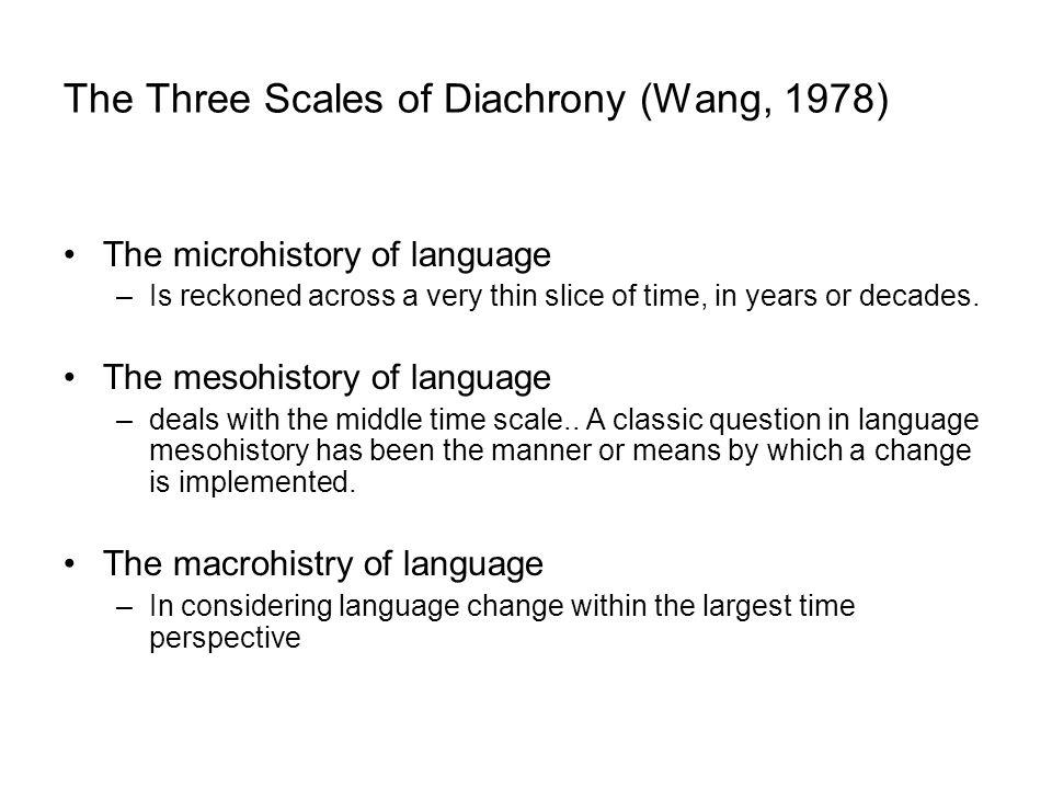 The Three Scales of Diachrony (Wang, 1978)