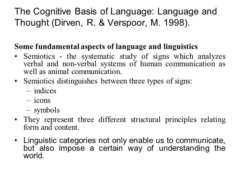 The Cognitive Basis of Language: Language and Thought (Dirven, R