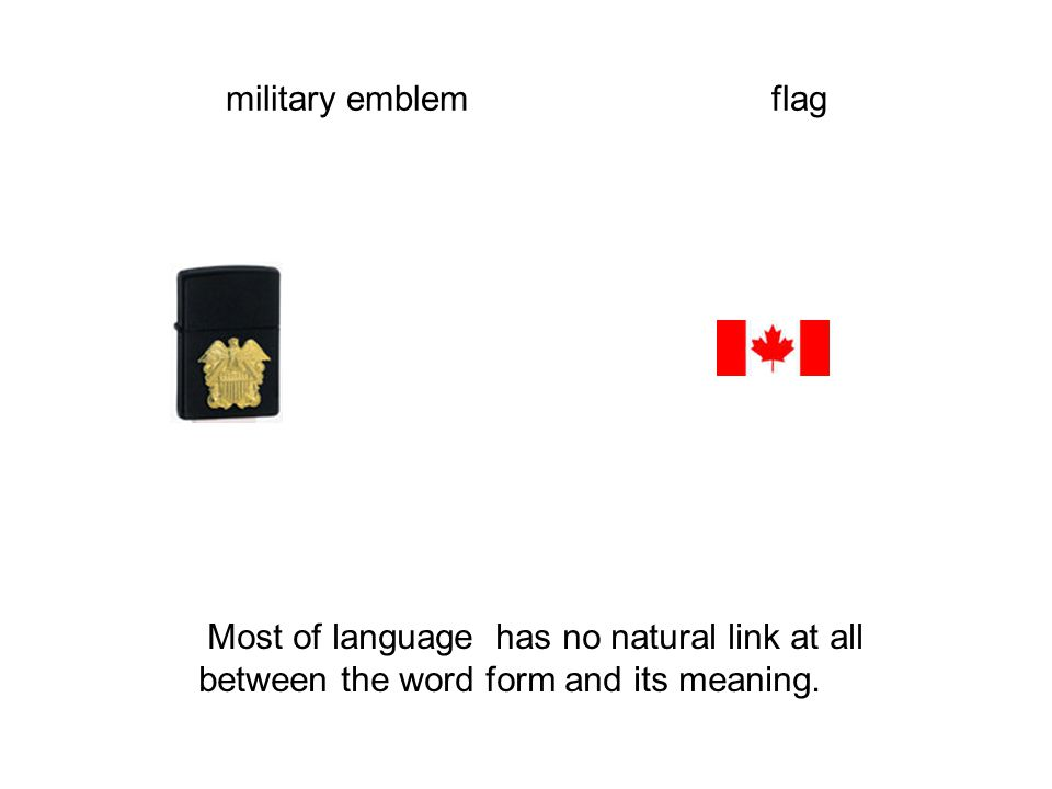 military emblem flag Most of language has no natural link at all between the word form and its meaning.