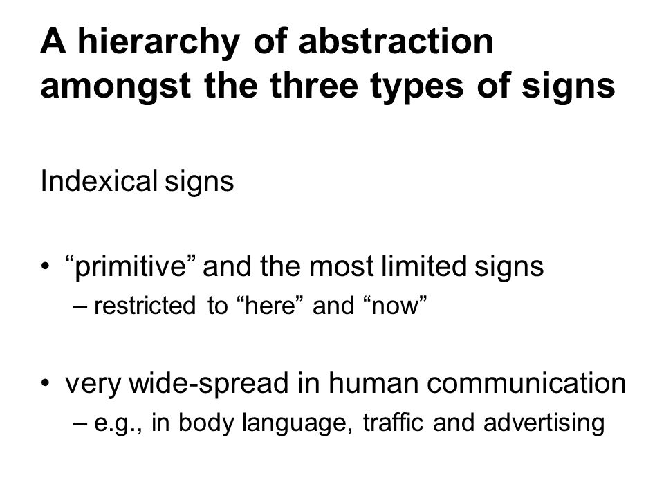 A hierarchy of abstraction amongst the three types of signs