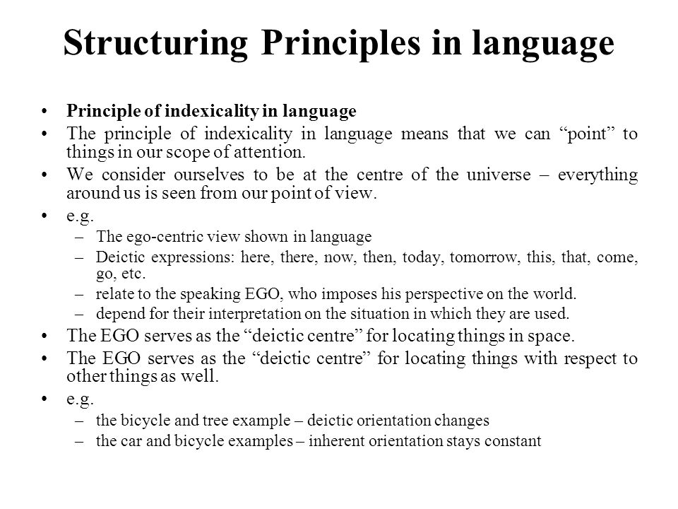 Structuring Principles in language