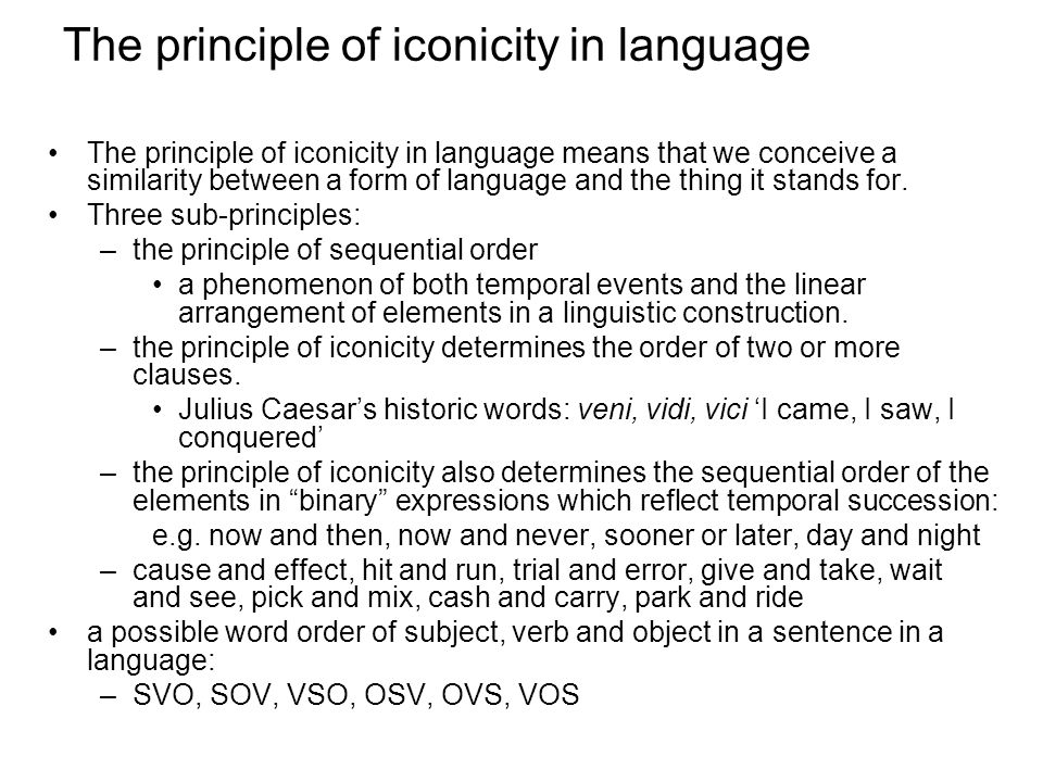 The principle of iconicity in language
