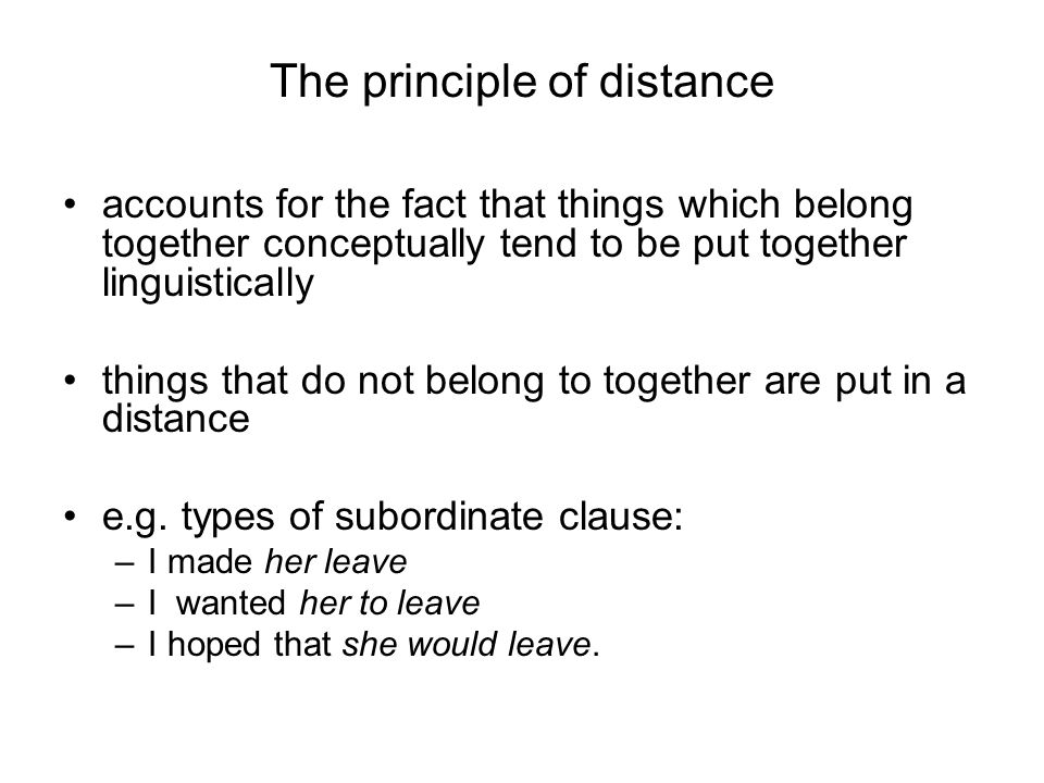 The principle of distance