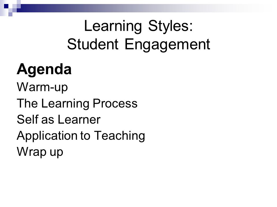 Learning Styles: Student Engagement
