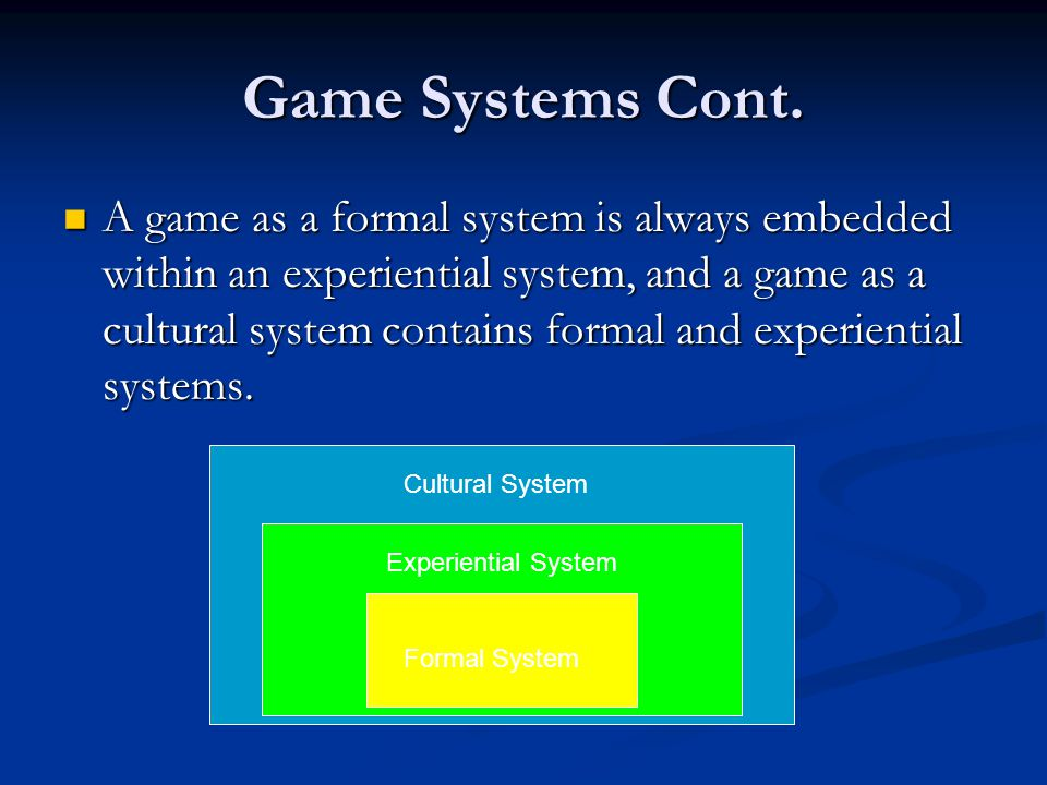 Game Systems Cont.