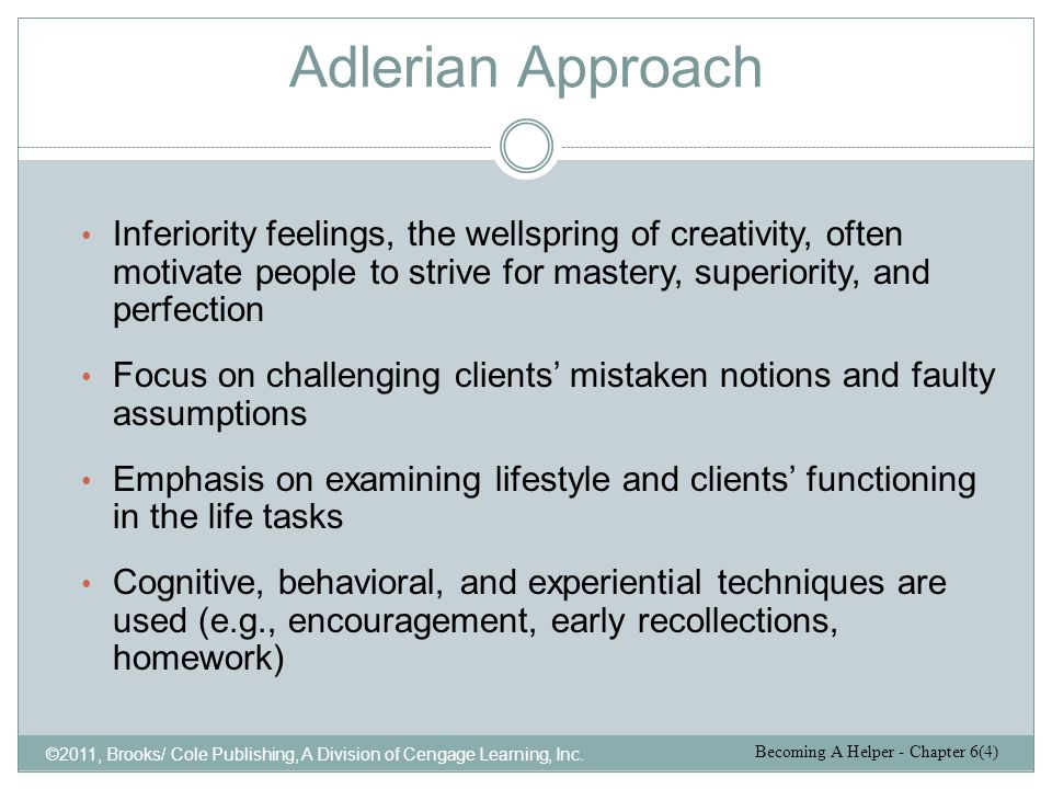 Adlerian Approach Inferiority feelings, the wellspring of creativity, often motivate people to strive for mastery, superiority, and perfection.