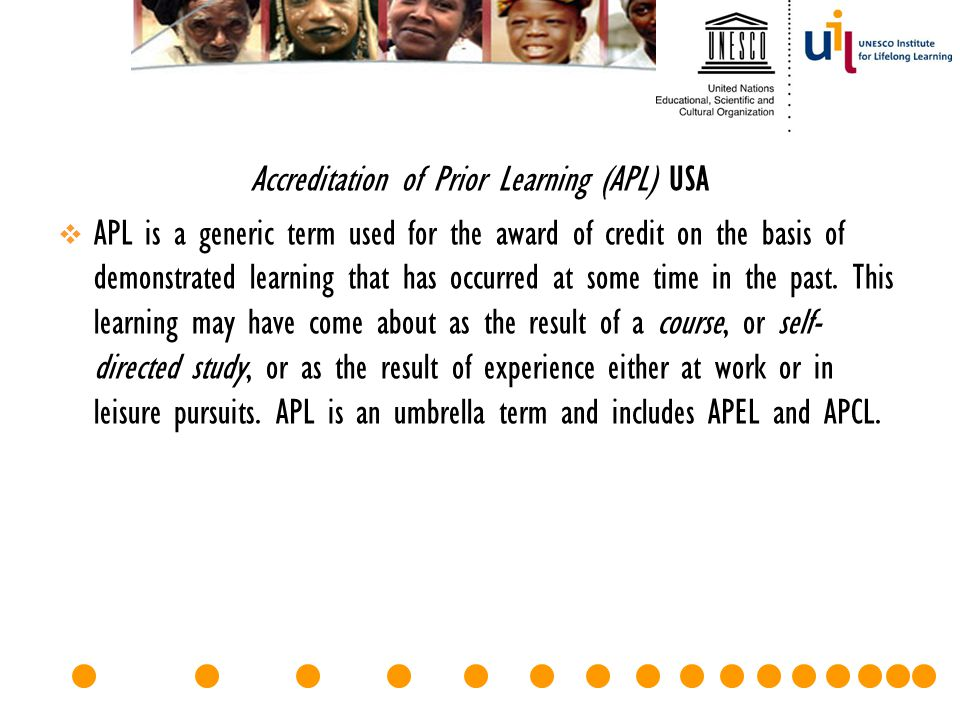 Accreditation of Prior Learning (APL) USA