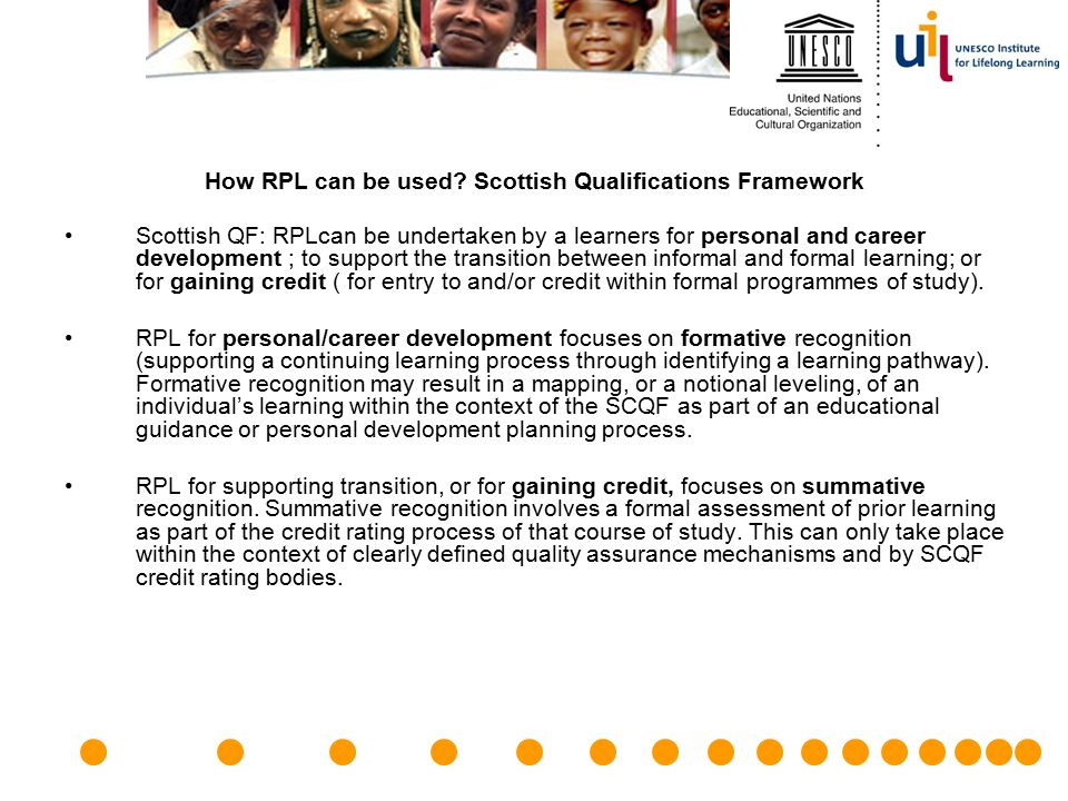 How RPL can be used Scottish Qualifications Framework