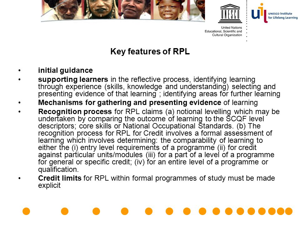 Key features of RPL initial guidance