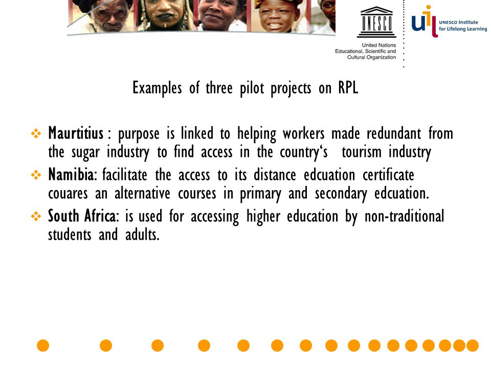 Examples of three pilot projects on RPL