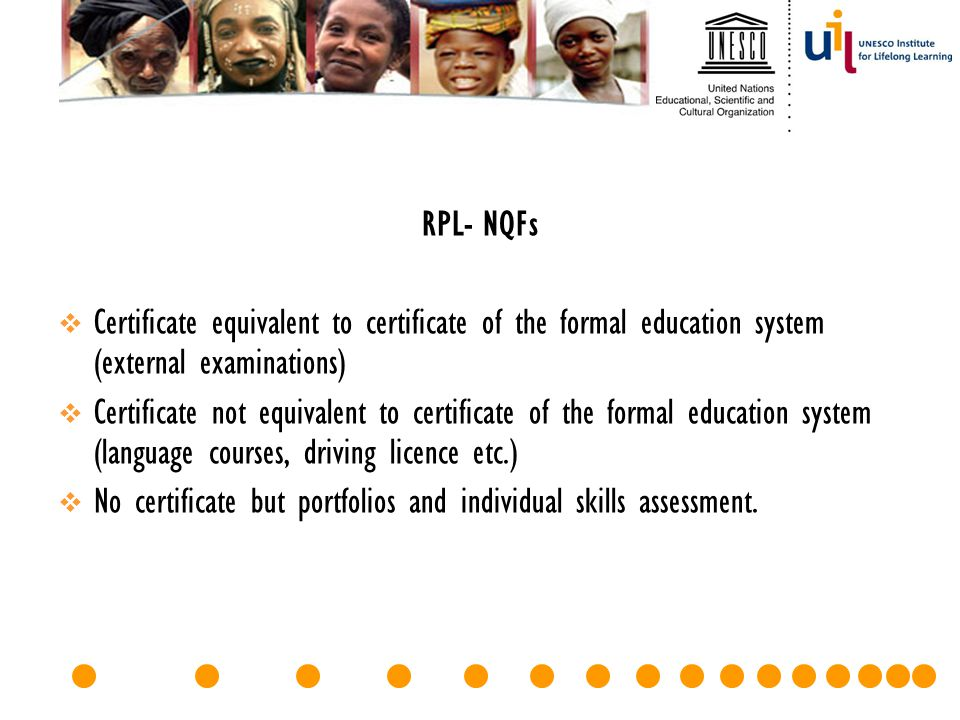 RPL- NQFs Certificate equivalent to certificate of the formal education system (external examinations)