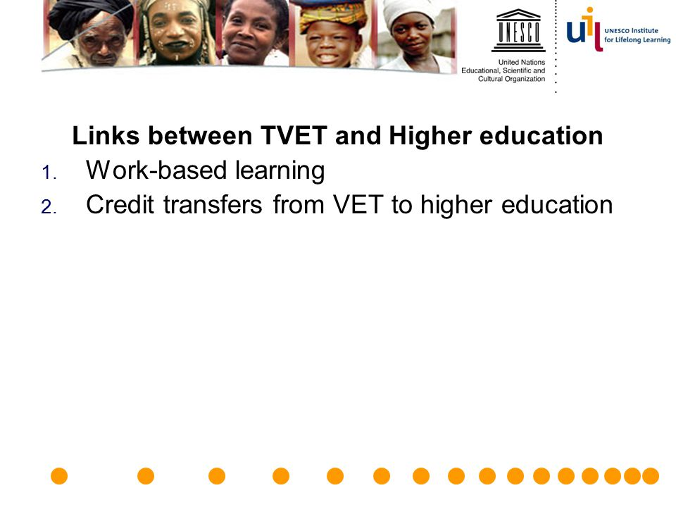 Links between TVET and Higher education