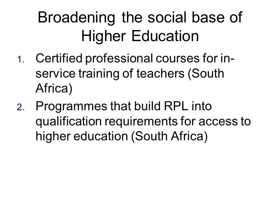Broadening the social base of Higher Education