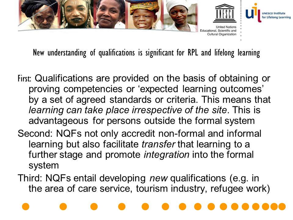 New understanding of qualifications is significant for RPL and lifelong learning