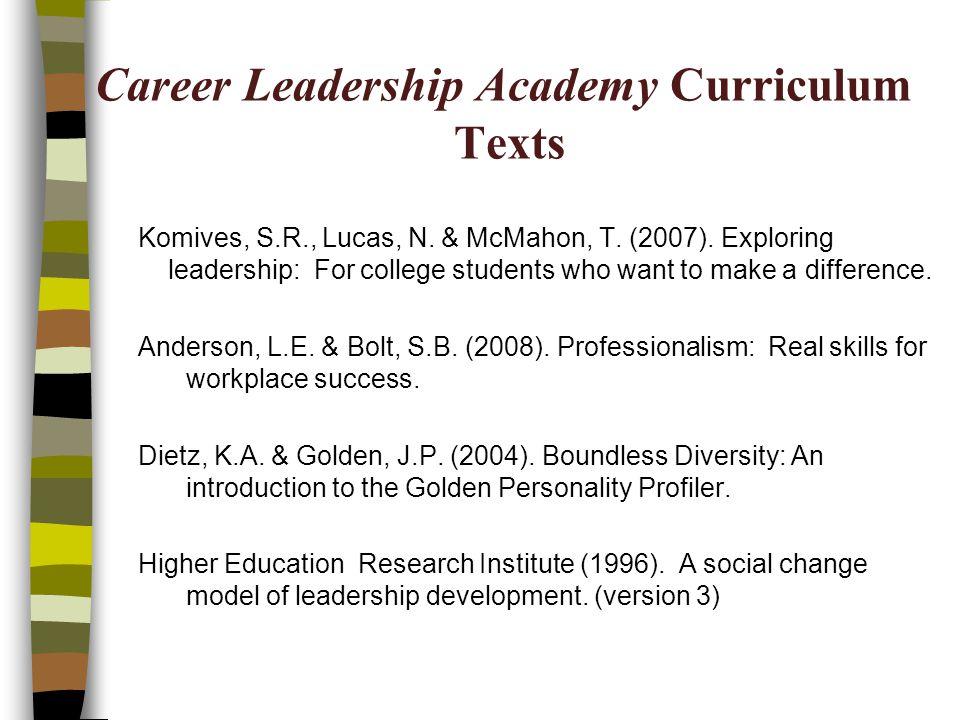Career Leadership Academy Curriculum Texts