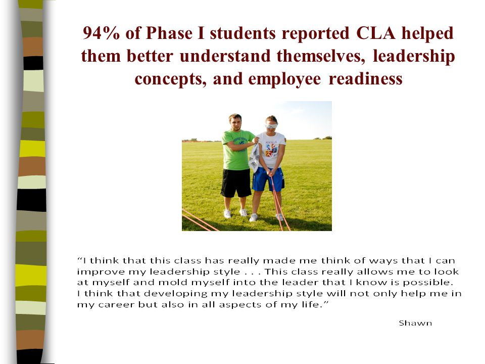 94% of Phase I students reported CLA helped them better understand themselves, leadership concepts, and employee readiness