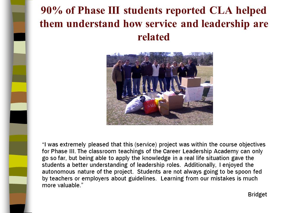 90% of Phase III students reported CLA helped them understand how service and leadership are related