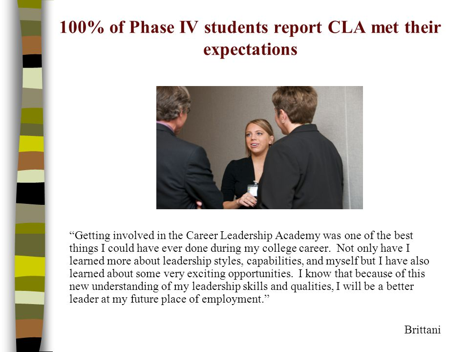 100% of Phase IV students report CLA met their expectations