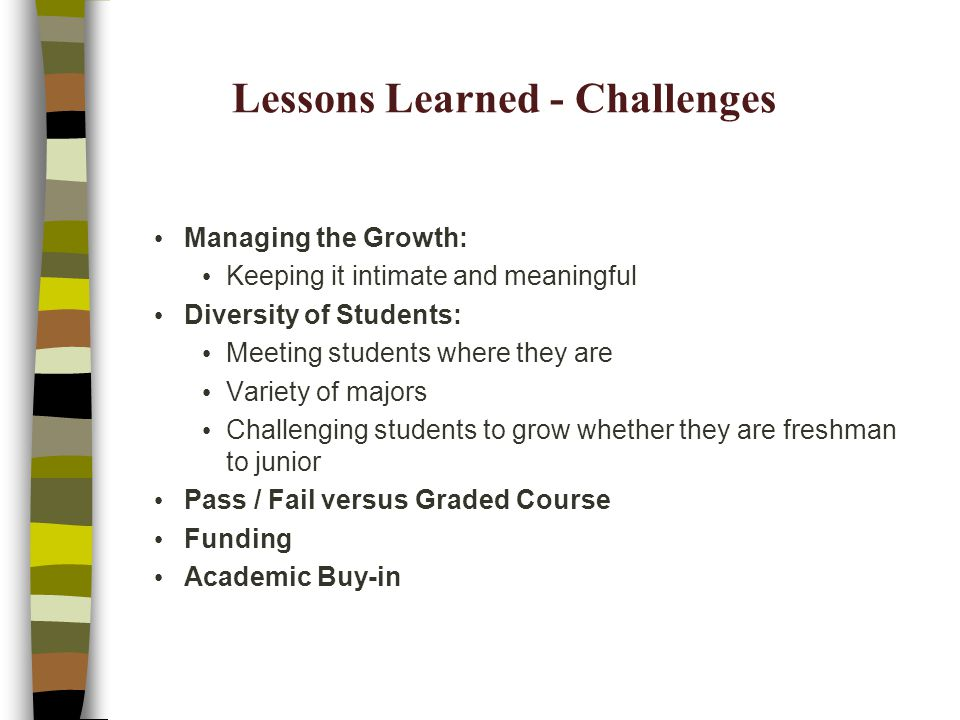 Lessons Learned - Challenges