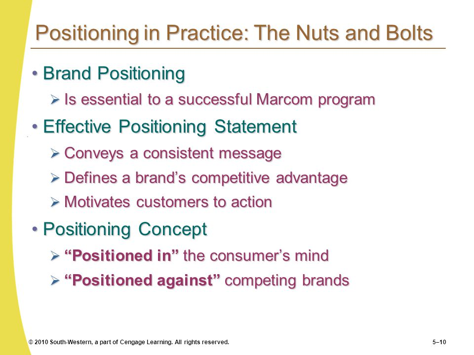 Positioning in Practice: The Nuts and Bolts