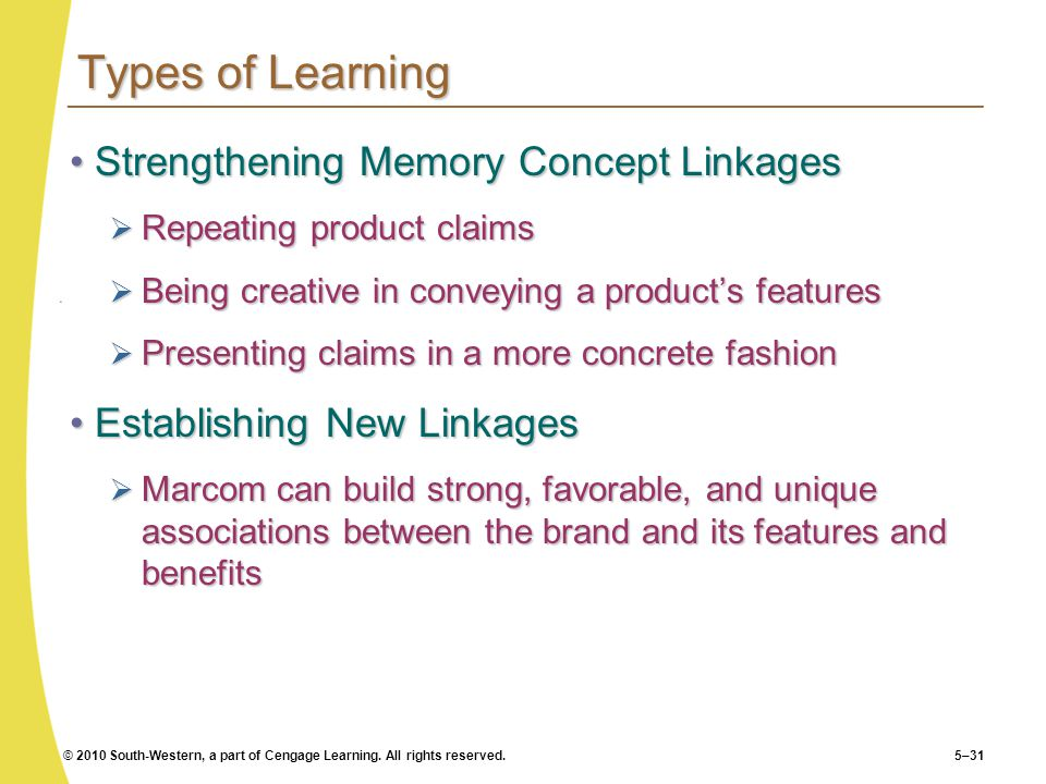 Types of Learning Strengthening Memory Concept Linkages