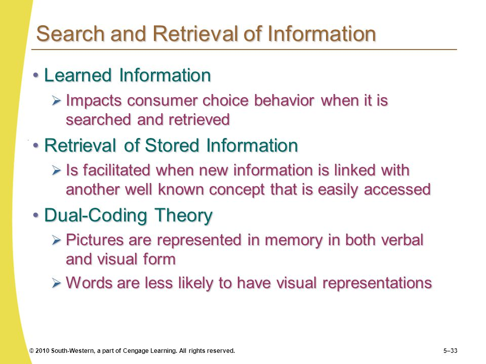 Search and Retrieval of Information