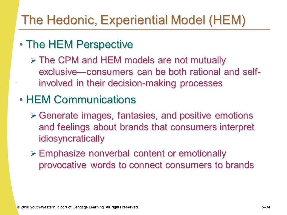 The Hedonic, Experiential Model (HEM)