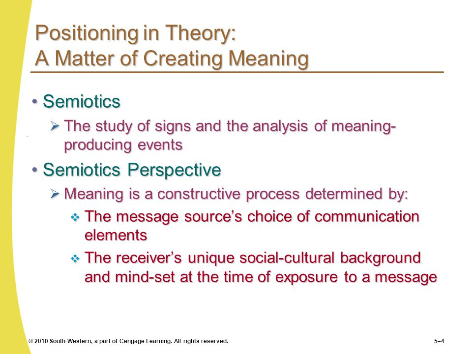 Positioning in Theory: A Matter of Creating Meaning