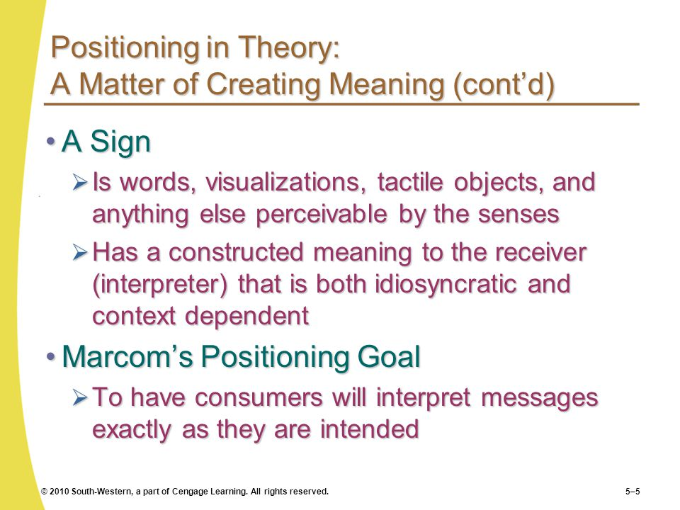 Positioning in Theory: A Matter of Creating Meaning (cont'd)