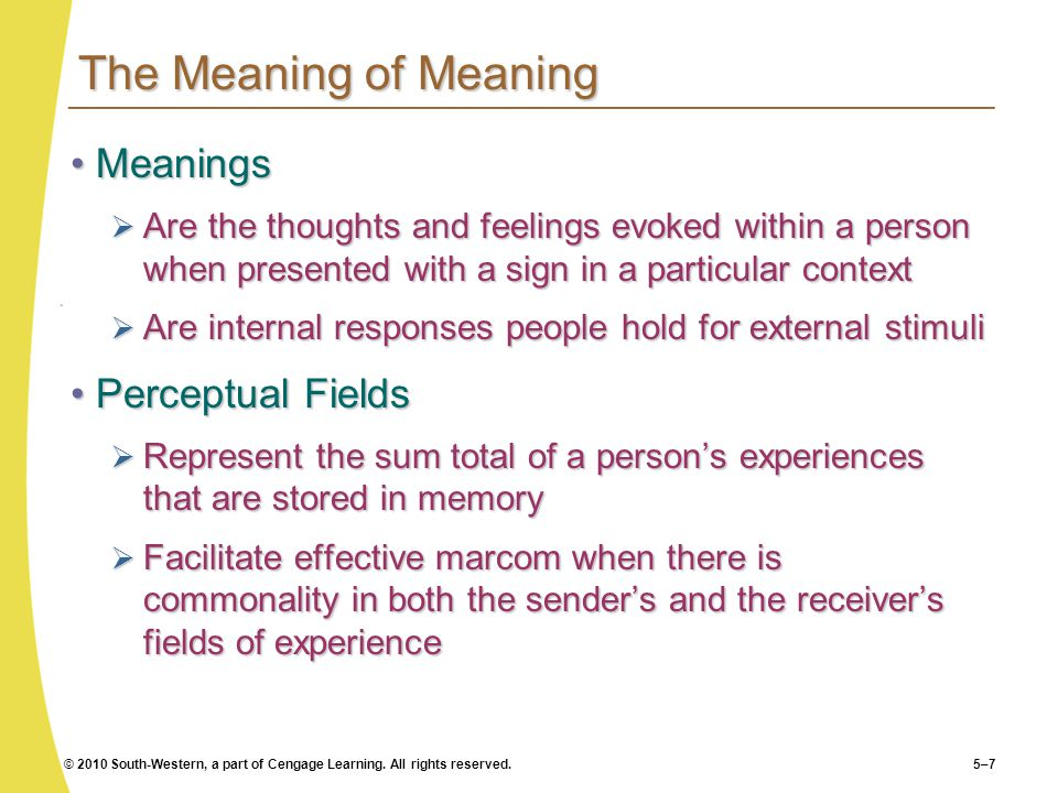 The Meaning of Meaning Meanings Perceptual Fields