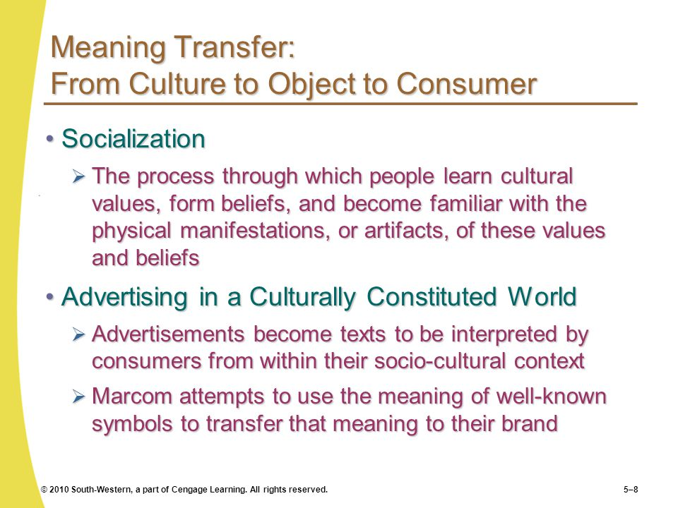 Meaning Transfer: From Culture to Object to Consumer