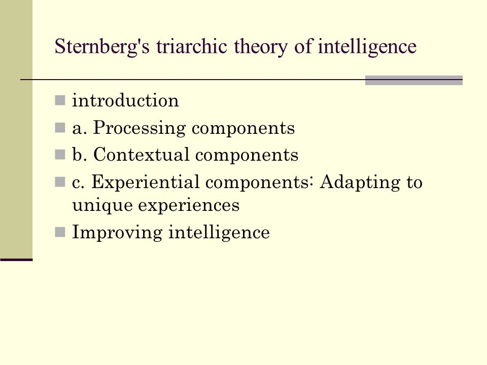 Sternberg s triarchic theory of intelligence