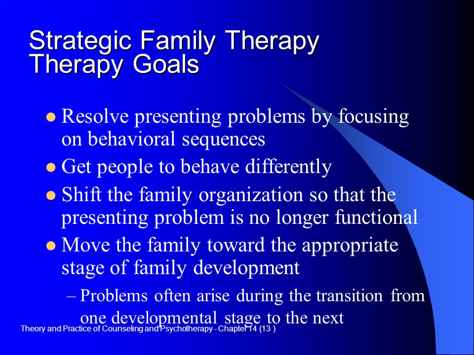 Strategic Family Therapy Therapy Goals