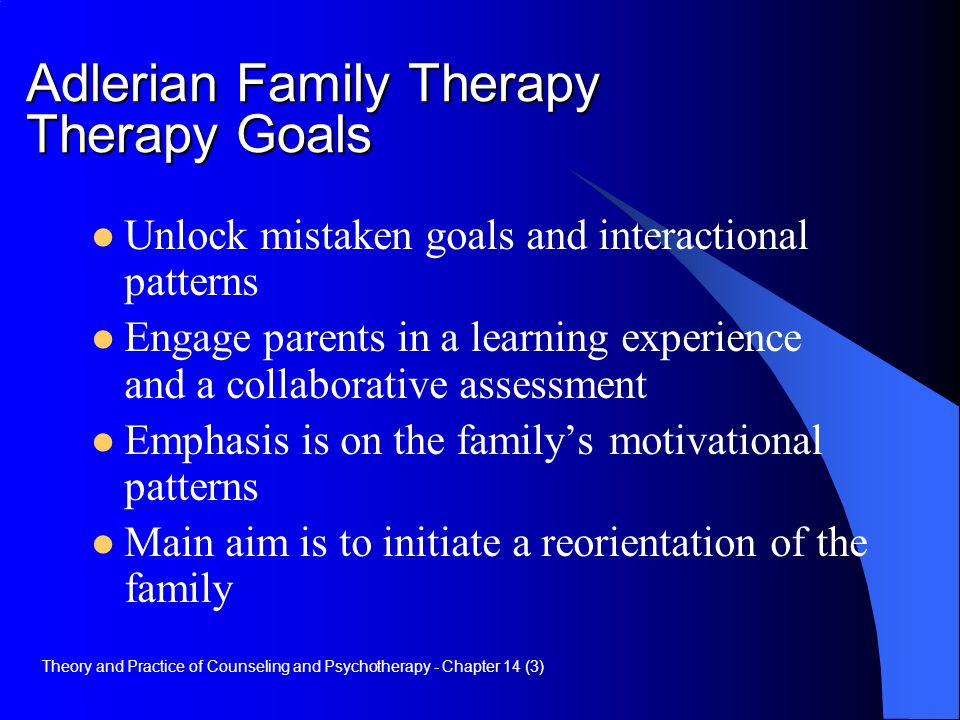 Adlerian Family Therapy Therapy Goals