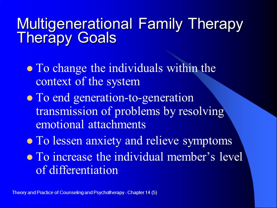 Multigenerational Family Therapy Therapy Goals