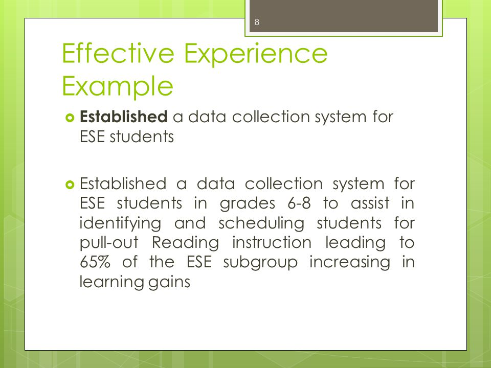 Effective Experience Example