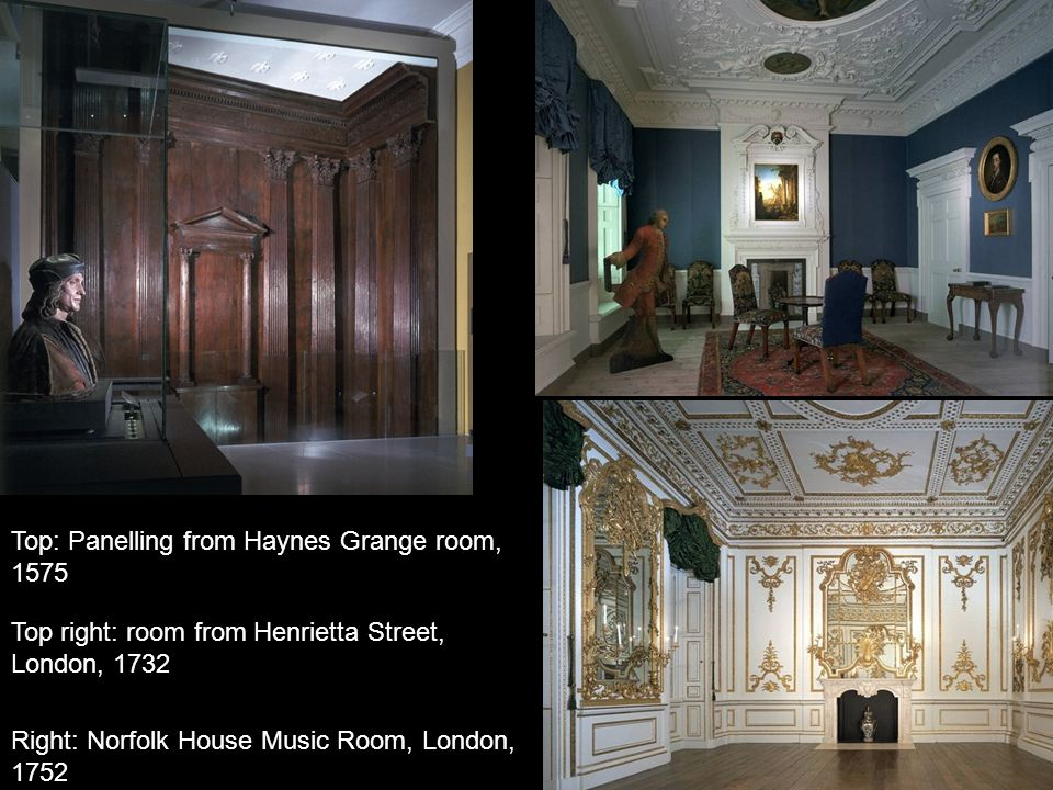 Top: Panelling from Haynes Grange room,