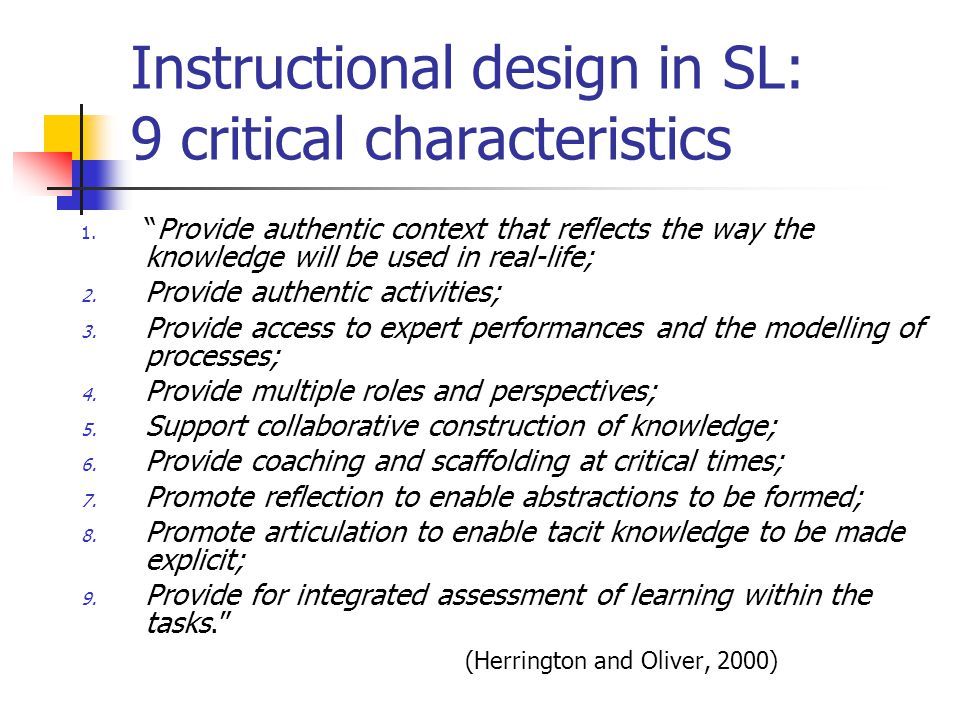 Instructional design in SL: 9 critical characteristics