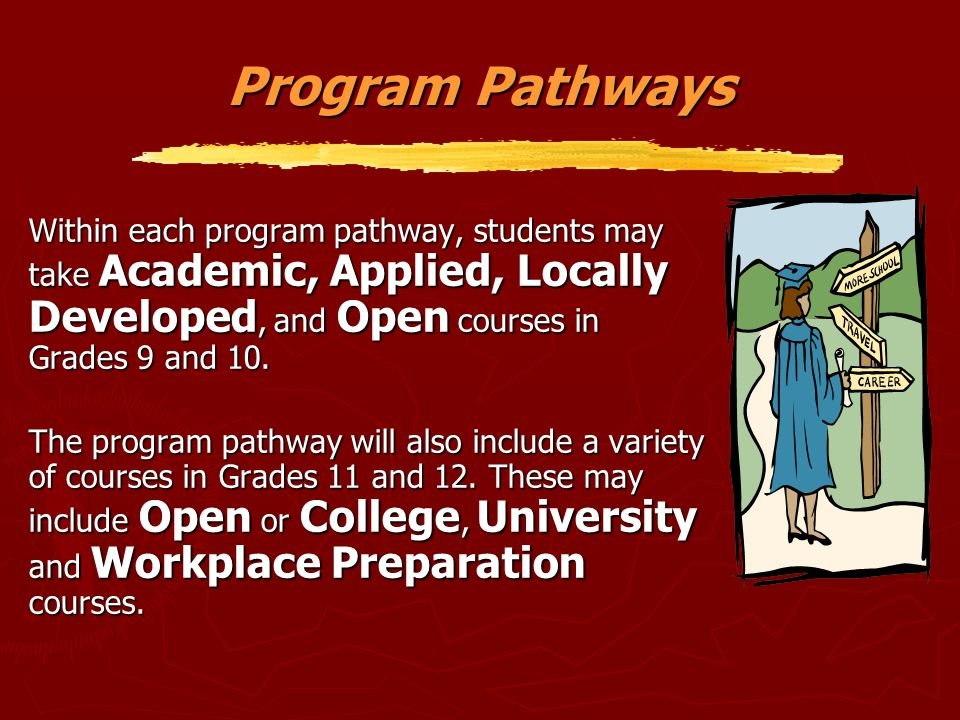 Program Pathways Within each program pathway, students may take Academic, Applied, Locally Developed, and Open courses in Grades 9 and 10.