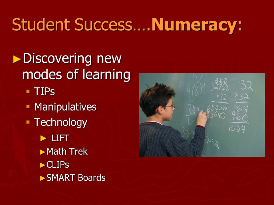 Student Success….Numeracy: